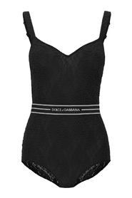 lace bodysuit with logo band