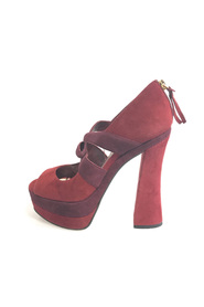 Bi-color Suede Platform Open-Toe Pump