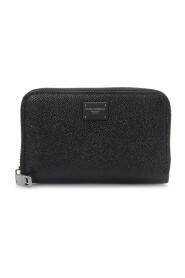 Mini Dauphine Calfskin Zip-Around Wallet With Branded Plate