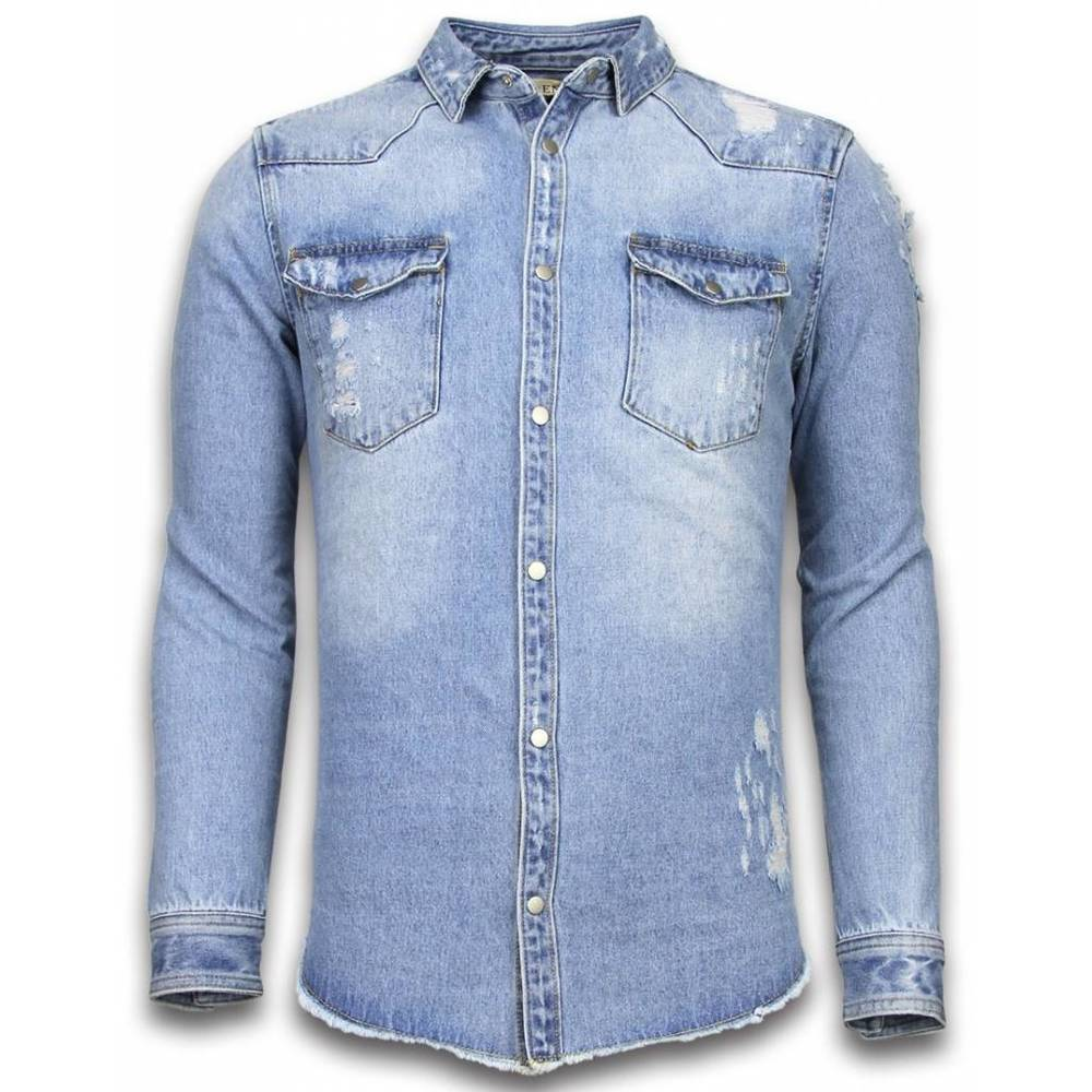 Denim Shirt Slim Fit Damaged Sleeves
