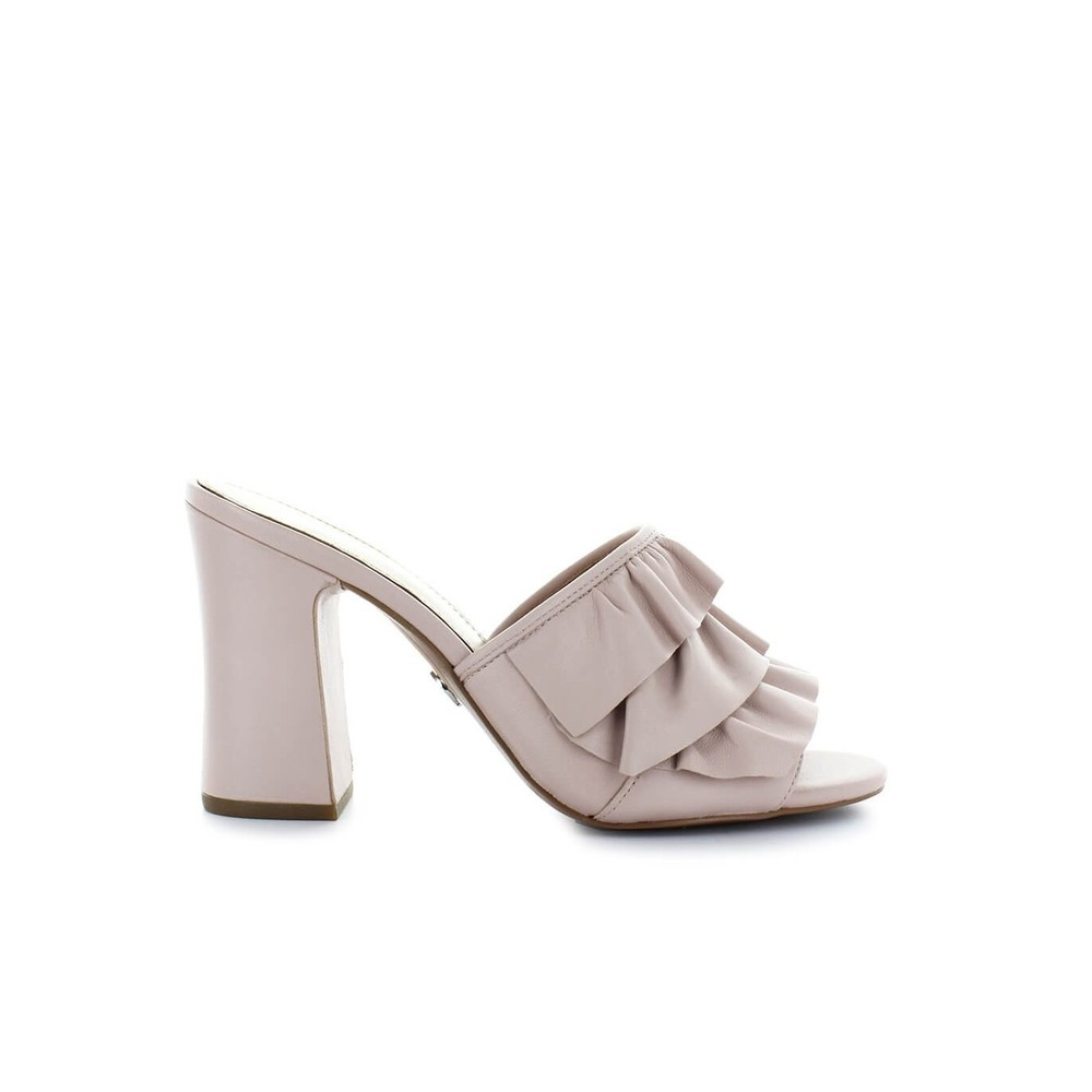 BELLA LEATHER HEELED MULE
