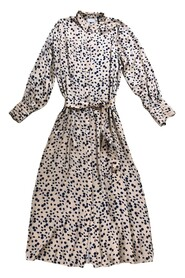 Robe Long dress in moon print w. collar and tie band