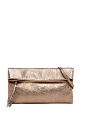 Clutch bag in laminated leather with shoulder strap