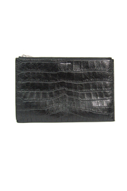 Croc Embossed Leather Clutch