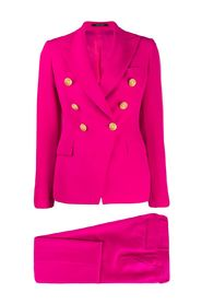 Double breasted trouser suit with straight pocket