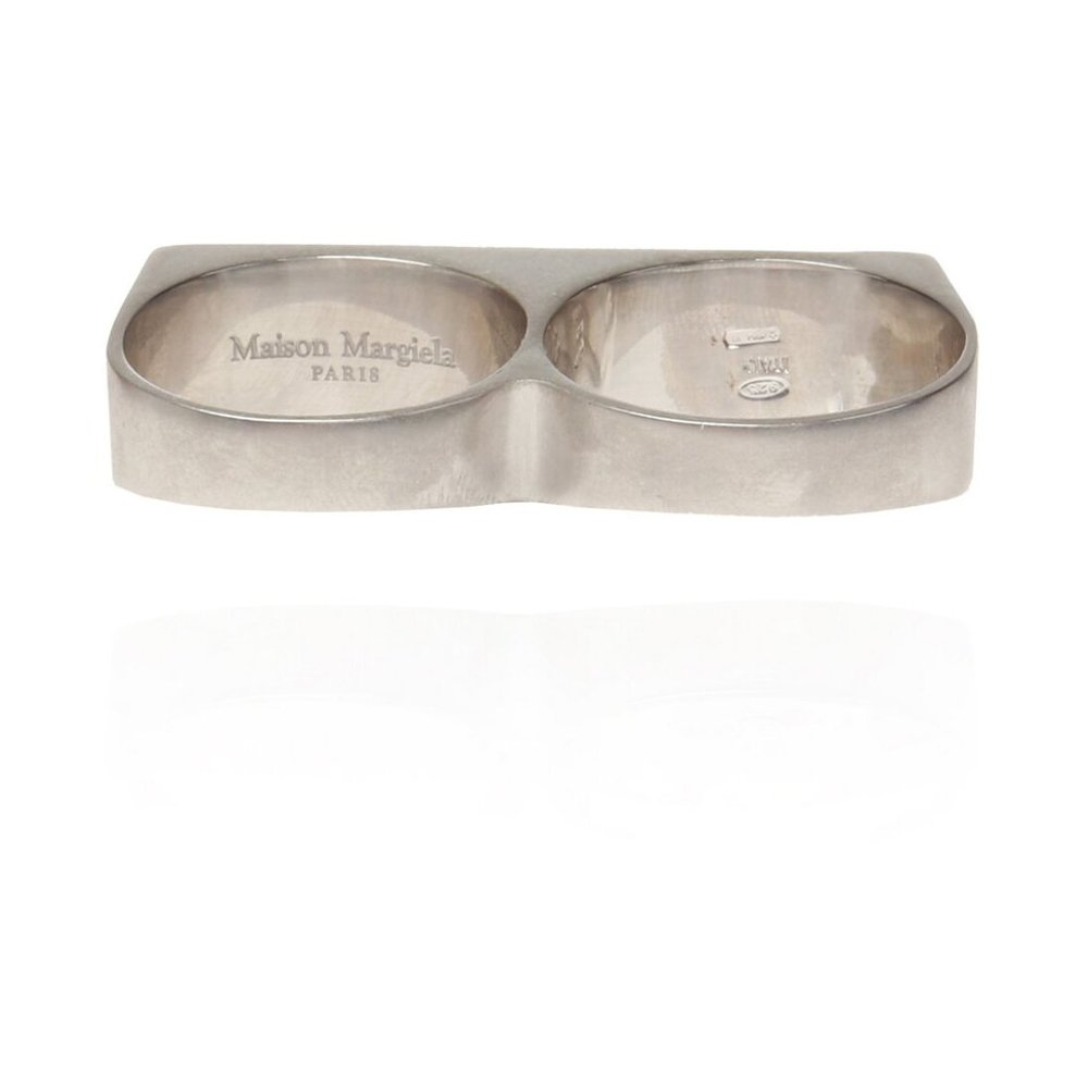 Maison Margiela SILVER Double ring with logo Maison Margiela