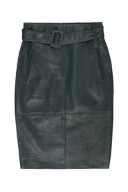 840066 3366-Deep forest knee length faux leather skirt w/selffabric belt and pockets