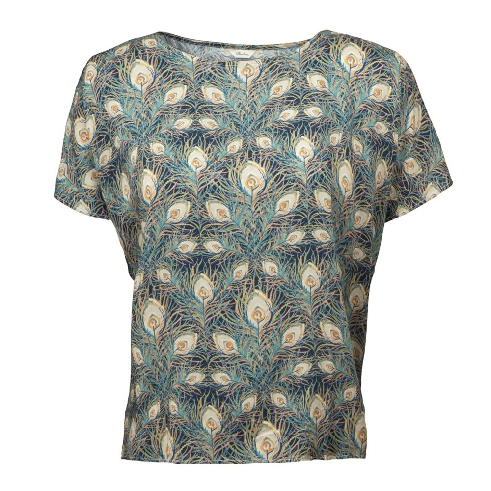 Patterned oversized blouse - Bluse med påfugleprint