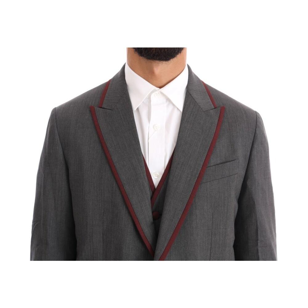 Dolce & Gabbana Grey Wool Stretch 3 Piece Two Button Suit Dolce & Gabbana
