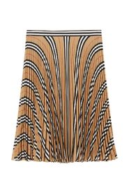 Pleated crepe skirt with stripes and logo print
