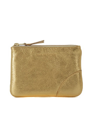 Golden leather purse wallet