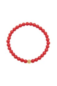 Men's Wristband with Red Jade and Gold