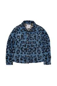 Hold Up Leopard Embroidery Denim Jacket