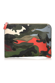 Pre-owned Camouflage Clutch Bag Leather Calf