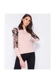 Sheer Flock Print Organza Sleeve High Neck Top