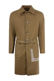 COAT WITH FLOCK WITH BELT AND LOGO AT THE BOTTOM