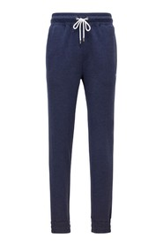 Double-face melange trousers with elastic