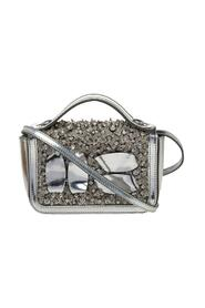 Silver Patent Leather Embellished Flap Top Handle Bag