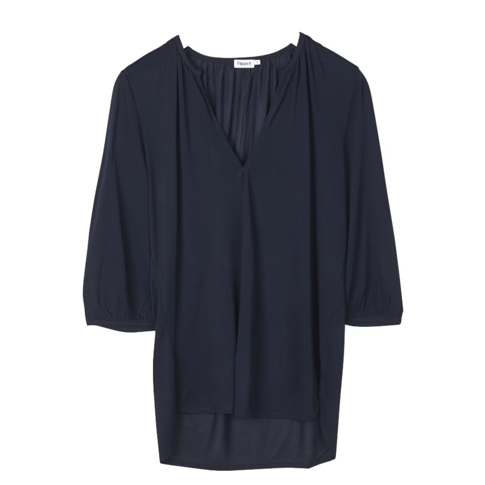 Filippa K Gathered Jersey Blouse Navy