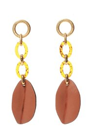 Earrings with leather appliques