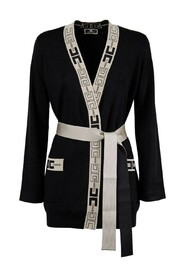 BELTED CARDIGAN WITH LOGO