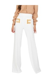 Ivory flared trousers with chain logo