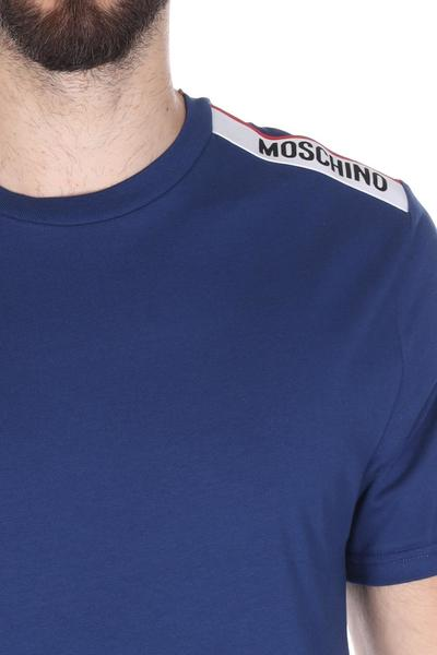 Blue T-shirt With Shoulder Print | Moschino T-shirty