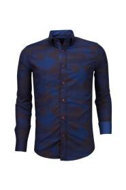 Italiaanse Overhemden - Slim Fit Overhemd - Blouse Army Lined Pattern