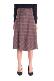 MUD CHECK SKIRT WITH BELT
