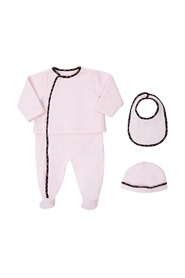 Romper suit, bonnet & bib set