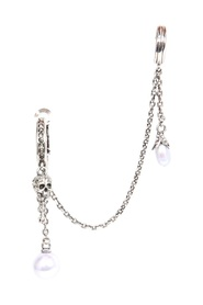 PEARLY SKULL EARRING WITH CHAIN