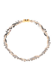 Crystal threaded interwoven necklace