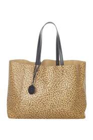 Sac fourre-tout en cuir Intrecciomirage à imprimé léopard d'occasion