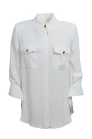 Blouse with light gold buttons