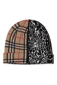 Check and animal print merino knit hat