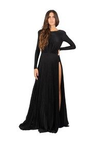 Long pleated lamé dress
