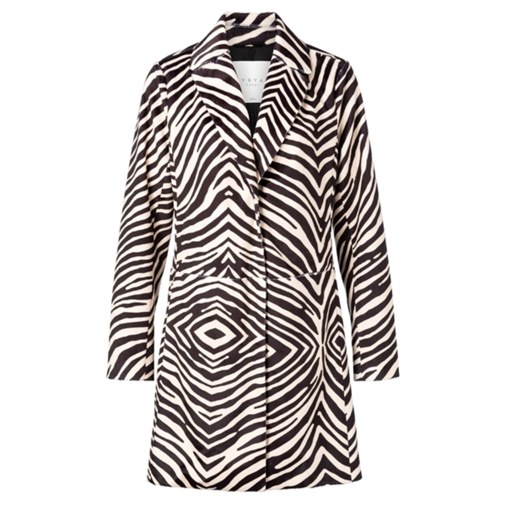 FAKE FUR COAT ZEBRA PRINT