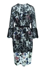 Floral Dress with Lace and Belt