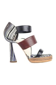 Multicolored Leather Strappy Platform Sandals