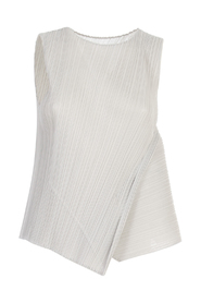 SLEEVELESS TOP W/ DIAGONAL PLEATS