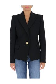 Fitted embossed button detail blazer