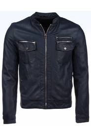 Leatherette Motor Jacket Silver Zipper Double