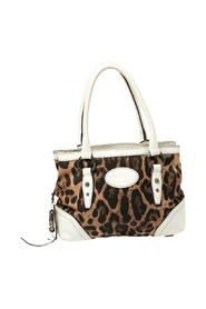 Animal Print Fabric and Leather Satchel