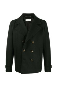 Double-breasted sablè wool coat