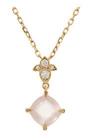 Diamond Rose Quartz Necklace