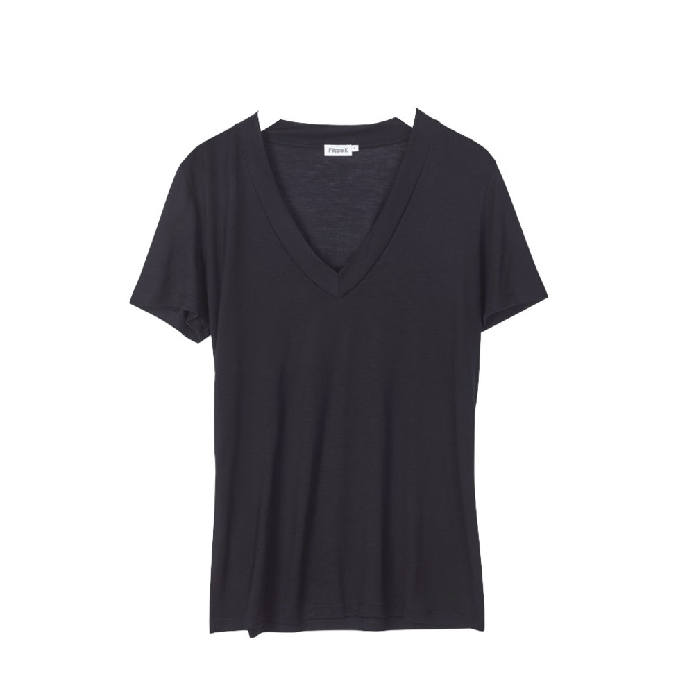Filippa K Tencel Deep V-neck Tee Black