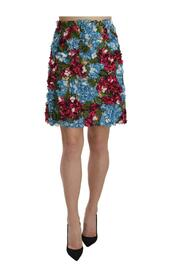 Hydrangea Applique Floral Embroidered Mini Skirt