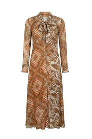 Ebba Long Crepe Dress with Paisley Print