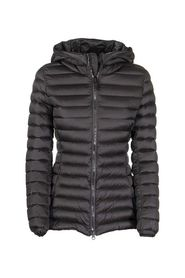 Place glossy down jacket with hood