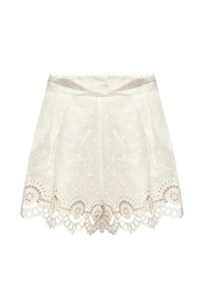 Embroidered linen shorts